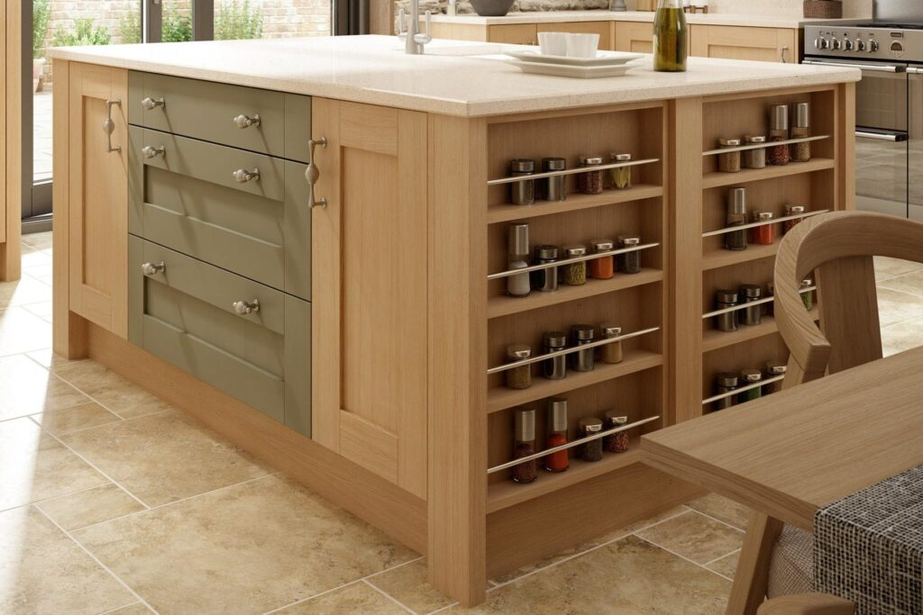Natura Oak Timber, Natural Ivory Ash Timber & Olive Green Matt 2
