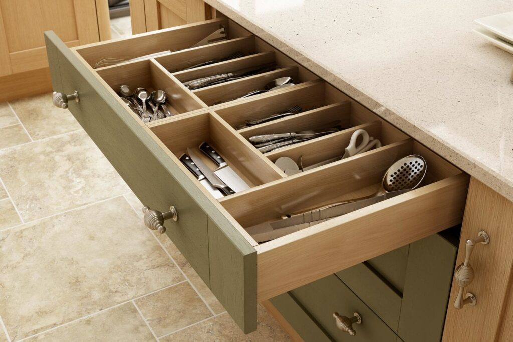 Natura Oak Timber, Natural Ivory Ash Timber & Olive Green Matt 4