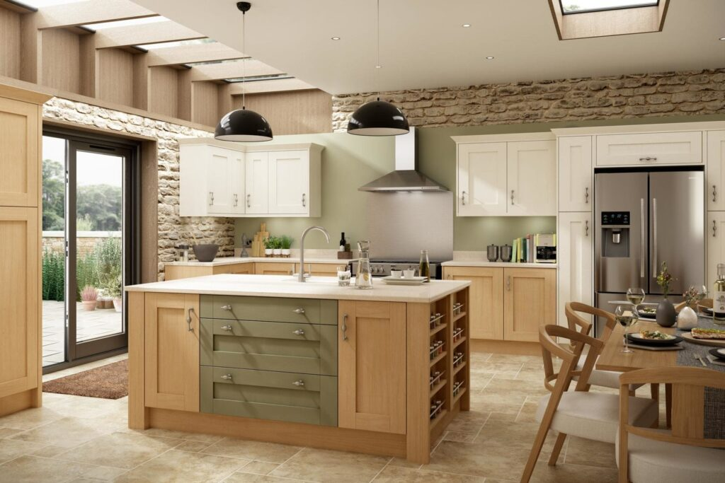 Natura Oak Timber, Natural Ivory Ash Timber & Olive Green Matt